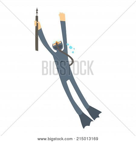 Cartoon character of diver in diving suit and flippers with harpoon. Spearfishing. Man engaged in water sports. Underwater hunting with diving equipment. Vector flat illustration isolated on white.