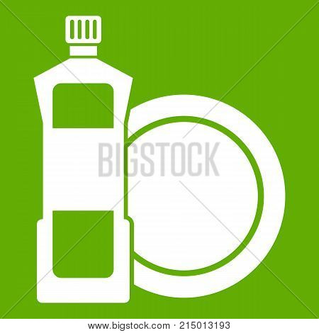 Dishwashing liquid detergent and dish icon white isolated on green background. Vector illustration