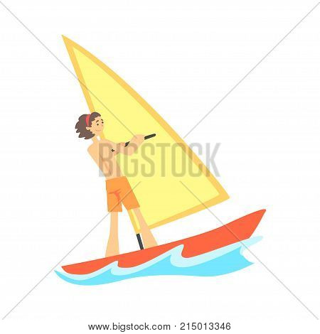Cartoon character of smiling young man windsurfing. Male in orange shorts standing on the board with sail for windsurfing. Surface water sport. Summer activity. Vector in flat style isolated on white.