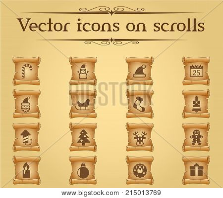 christmass vector icons on scrolls for your creative ideas