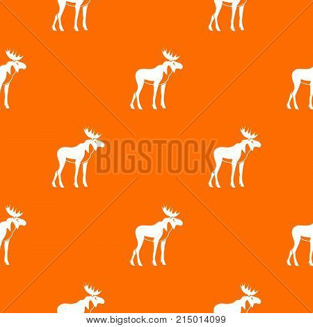 Moose pattern repeat seamless in orange color for any design. Vector geometric illustration