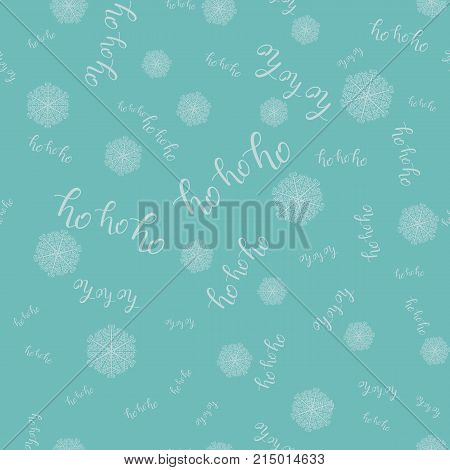 Ho-ho-ho Seamless Hand Drawn Pattern with Snowlakes and Lettering Blue. Vector Illustration. Handwritten Inscription Backdrop for  New Year Holiday Design, Sale, Banner, Invitation.