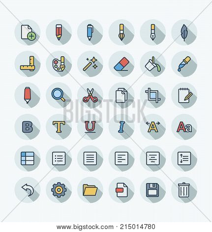 Vector flat thin line icons set, graphic design elements. Illustration with text edit, Graphic tools outline symbols. Pencil, eraser, new file, brush, pen, scissors, bold, italic font color pictogram