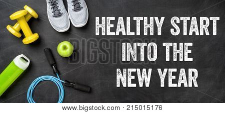 Healthy start into the new year written on a blackboard