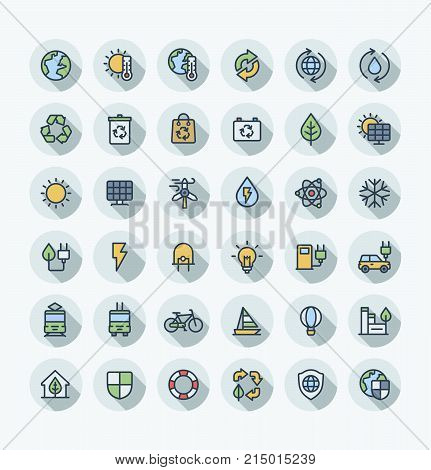 Vector thin line icons set and graphic design. Illustration with environmental and ecology outline symbols. Eco, bio energy, wind power, recycle, electric car charge station flat color pictogram