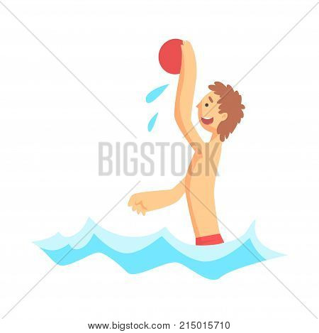 Cheerful boy playing with red ball in the sea. Beach game. Summer beach activities. Cartoon kid character playing water polo, isolated on white background. Vector illustration in flat style.