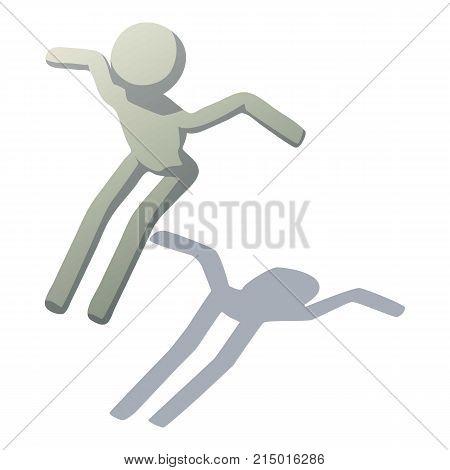 Stick man leaping icon. Isometric illustration of stick man leaping vector icon for web