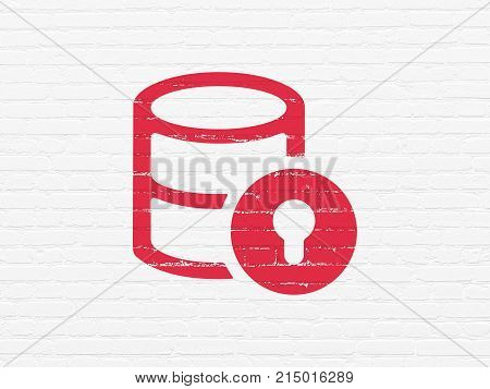 Database concept: Painted red Database With Lock icon on White Brick wall background