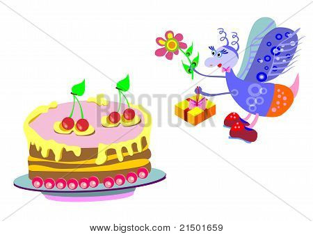 Cake And A Gift From A Fly