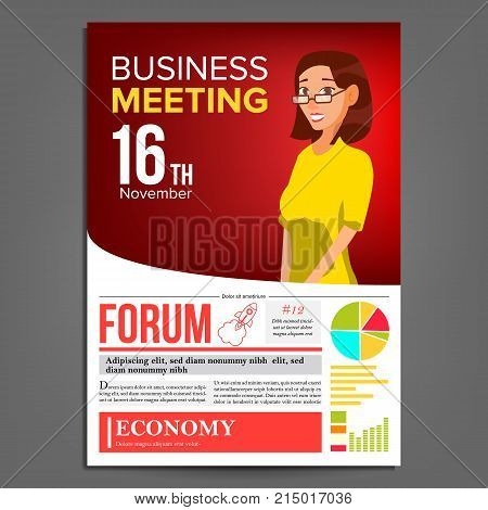 Business Meeting Poster Vector. Business Woman. Invitation And Date. Conference Template. A4 Size. Red, Yellow Cover Annual Report. Conference Room. Professional Training. Illustration