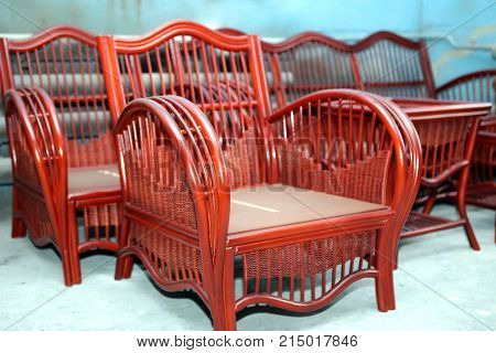Production Of Furniture From The Vine. Factory Of Creation Of Natural Furniture. Manual Production O