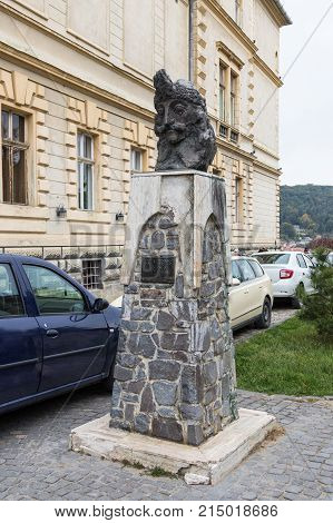Sighisoara Romania October 08 2017 : Monument to Vlad Tepes (Dracula) standing on the Fortress Square in the castle of old city. Sighisoara city in Romania