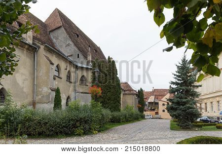 Sighisoara Romania October 08 2017 : Fragment of the Fortress Square in the castle of old city. Sighisoara city in Romania