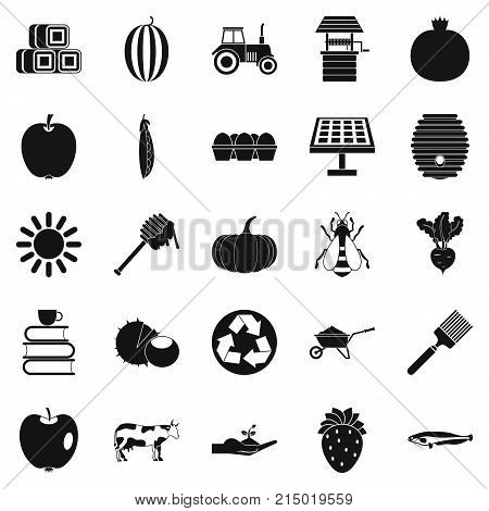 Private farm icons set. Simple set of 25 private farm vector icons for web isolated on white background