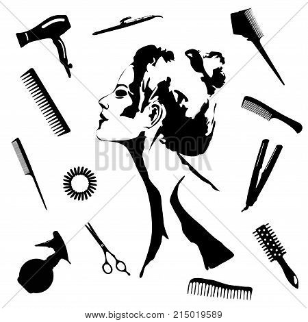 Beauty store and salon background. make up artist and hairdressing objects: comb brush scissors hair dryer woman silhouette hair band. Template Vector. Hand drawn isolated on white objects
