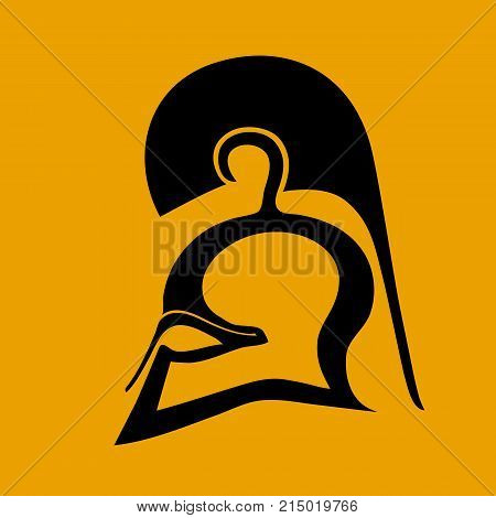 Silhouette of Corinthian helmet in flat style on a colored background
