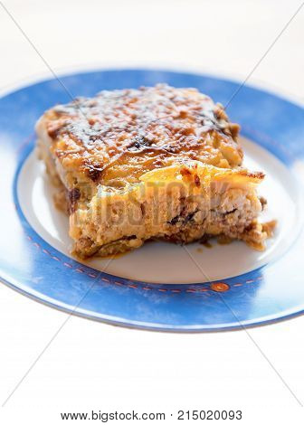 Moussaka or moussakas is an eggplant- (aubergine) or potato-based dish often including ground meat in the Levant Middle East and Balkans with many local and regional variations.