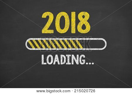 Loading New Year 2018 on Chalkboard new year working