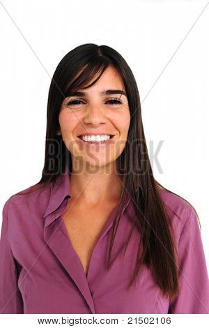 portrait of a happy latin woman smiling on white background