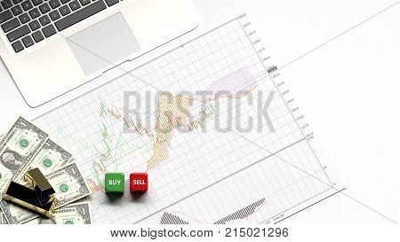Investor stock market candle stick graph chart with indicator bullish up trend or down trend business graph background investment and financial buy or sell for copy space and object minimal concept