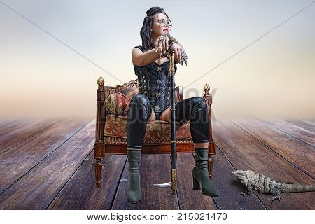 Beautiful girl in steampunk clothes, sitting in chair and leaning on cane with iguana at feet