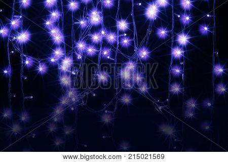 Purple Fairy Lights on a Black Background