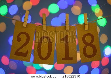 New Year 2018 Concept Clipped Cards new year working