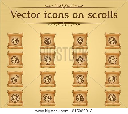 globes vector icons on scrolls for your creative ideas