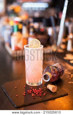 Chilled Alcoholic Cocktail With Pomegranate
