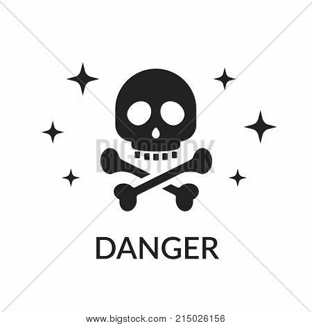 Icon skull and bones. Sign of danger. Do not get in the way of killing. Pirate sign or cheerful rodger isolated on white background