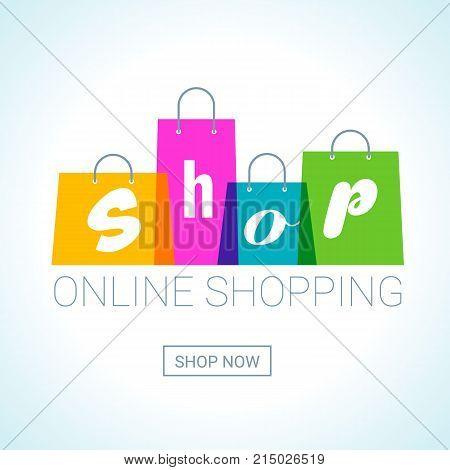 online shopping. Shopping Bags logo with shop inscription. Internet shop concept. Vector Illustration
