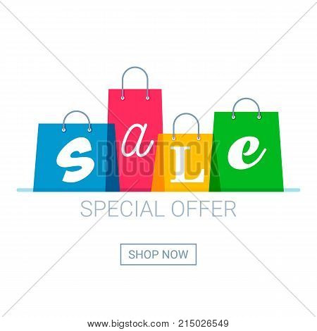 Shopping bags with sale inscription. Online shopping logo. Buy now button. Vector illustration.