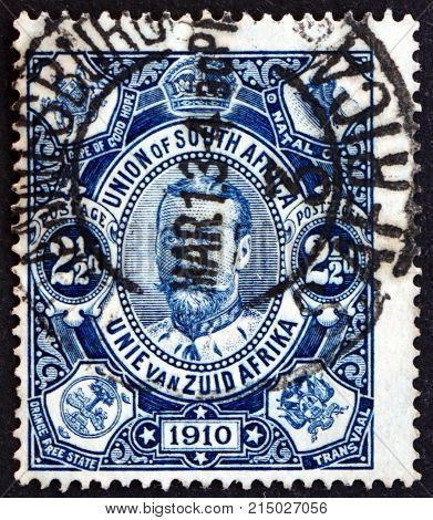 SOUTH AFRICA - CIRCA 1913: a stamp printed in South Africa shows King George V circa 1913