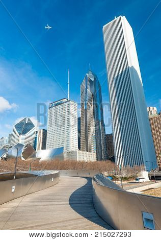 Chicago - March 2017, IL, USA: Skyscrapers and office buildings in downtown Chicago. View from The Millennium Park