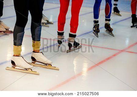 starting line legs men athletes speed skaters in mass start