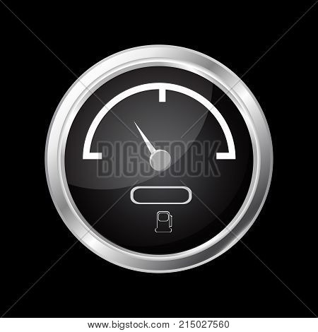 Fuel gauge. Black round dashboard element with chrome frame. Vector illustration isolated on white background