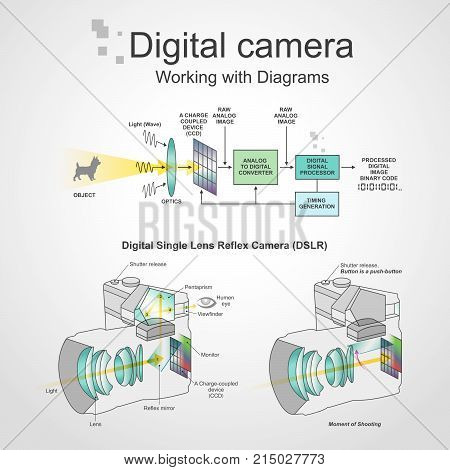 A digital single-lens reflex camera is a digital camera that combines the optics with a digital imaging sensor, as opposed to photographic film.