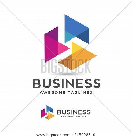 curved shapes abstract triangle color logo ,vector logo template for business company,Technology media logotype logo, play media