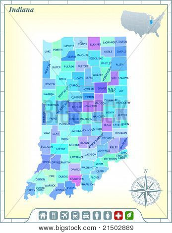 Indiana State Map with Community Assistance and Activates Icons Original Illustration