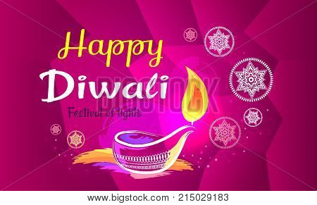 Happy Diwali poster with purple pattern backdrop and text. Vector illustration of diya oil lamp and other symbols of annual Hindu festival of lights
