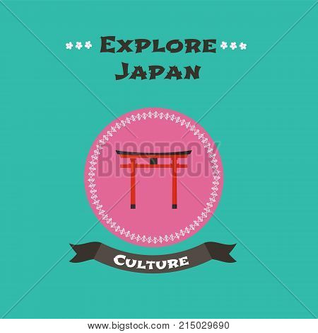 Japanese traditional gate vector illustration. Concept design for travel to Japan with architectural colorful object