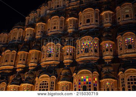 Beautiful night view to Hawa Mahal in Jaipur, Rajastan. Travel concept in India