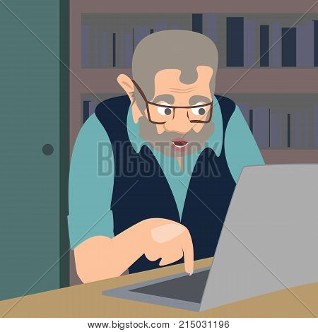 internet troll - funny vector cartoon illustration of revolting person sitting in front of computer