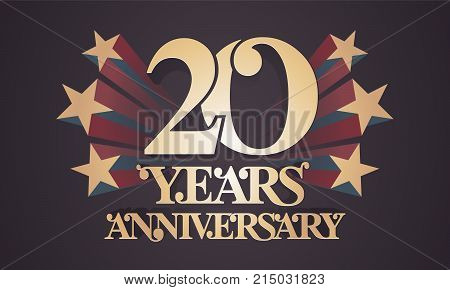 20 years anniversary vector icon logo. Graphic design element with golden numbers for 20th anniversary celebration