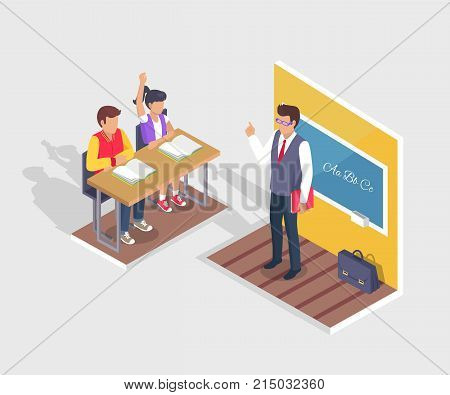 Two students boy and girl sitting at desk with open textbooks and teacher standing near blackboard at grammar lesson vector illustration with shadow