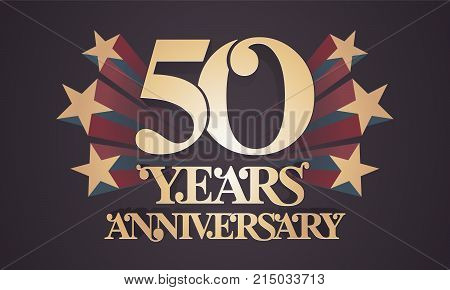 50 years anniversary vector icon logo. Graphic design element with golden numbers for 50th anniversary celebration
