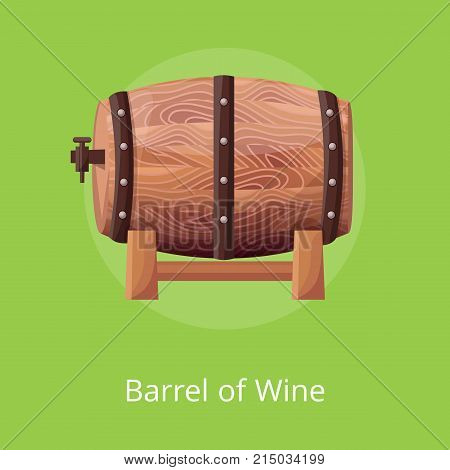 Barrel of wine, sealed cask with alcoholic drink of one type, icon placed in circle in centerpiece vector illustration isolated on green
