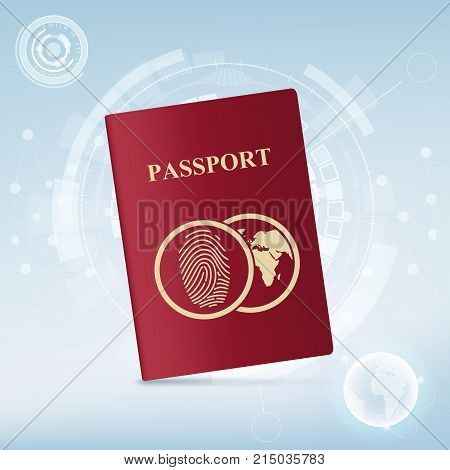 Red passport with world map. Identification document with fingerprint. Stock vector illustration.