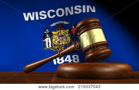 Wisconsin state laws legal system and justice concept with a 3D rendering of a gavel and flag on background.