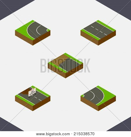 Isometric Way Set Of Incomplete, Single-Lane, Way And Other Vector Objects
